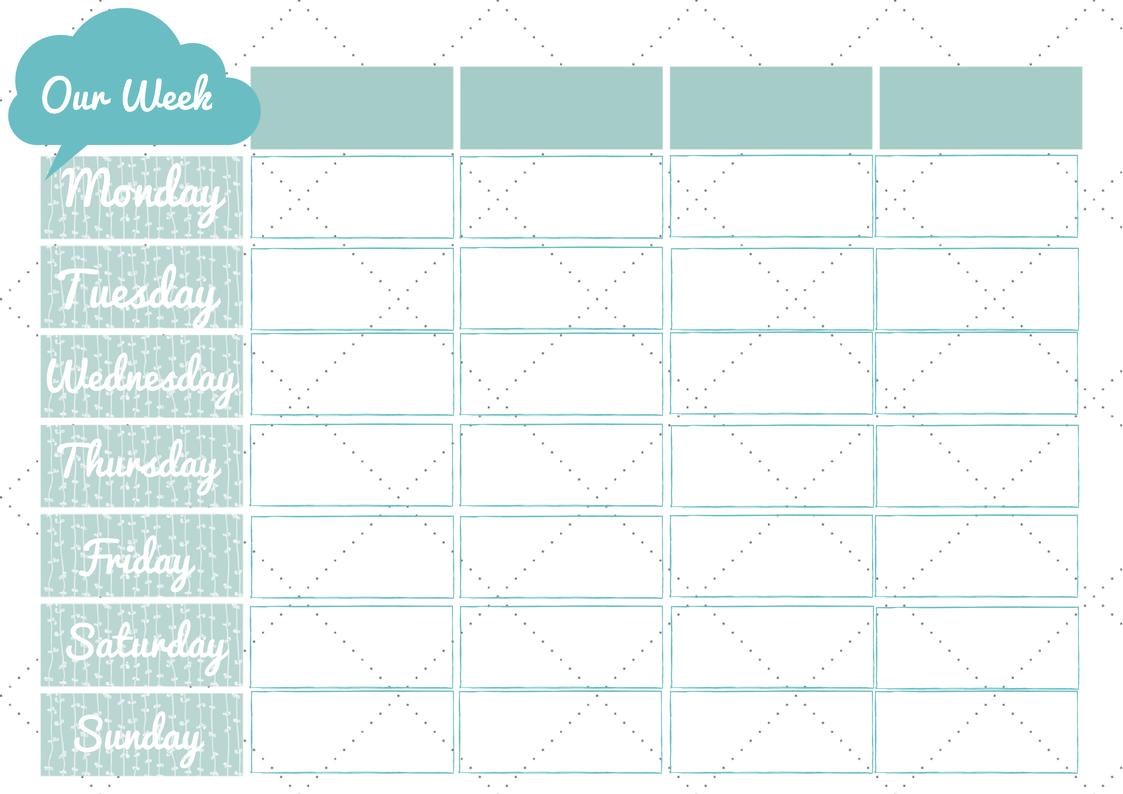 weekly calendar planner template